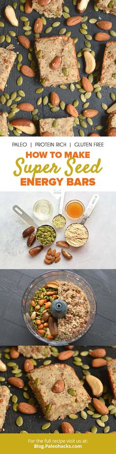 These Super Seed Energy Bars are packed with five different superfoods for maximum nutrition and energy. Perfect for taking with you on the go! Get the recipe here: http://paleo.co/seedenergybar