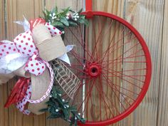 Hollyberry Wreath Bicycle Wreath Burlap Wreath by DesignsbySprouts Christmas Signs, Christmas Holidays, Christmas Crafts, Christmas Ornaments, Christmas Ideas, Bicycle Wheel Decor, Bicycle Rims, Hobbies And Crafts, Crafts To Make