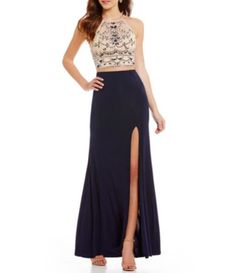 09595a9d297 B. Darlin Tonal Beaded High-Neck Illusion-Yoke Long Open-Back Two-Piece  Dress