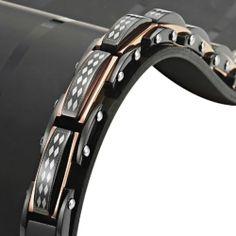 Mens Black Rhombus Link Bracelet Stainless Steel Jewelry NIB New Christams Gift
