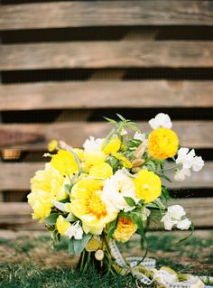 yellow rose bouquet by Bows + Arrows