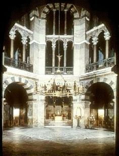 Carolingian art and architecture. Pfalzkapelle, Palatine Chapel Interior Aachen, Germany.