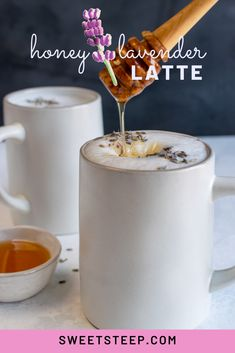 This honey lavender earl grey latte is as pretty as it is delicious. Earl grey tea, honey and lavender come together into a sweet and slightly floral flavored latte. Tea can be substituted with espresso or coffee. Lavender Latte Recipe, Lavender Drink, Honey Coffee, Coffee Latte, Tea Recipes, Coffee Recipes, London Fog Tea Latte, Espresso Drinks