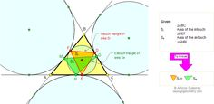 Math Geometry Problem 86: Intouch and Extouch Triangles, Equal Area, Contact Triangles. High School, College, Teaching, Math Education