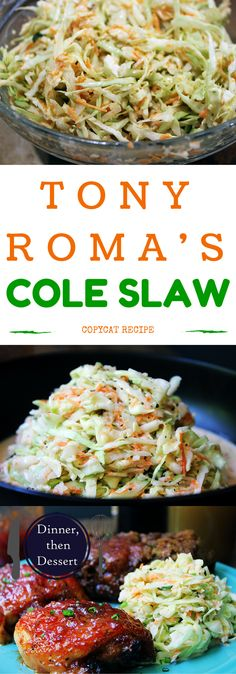Courtesy of Tony Roma& World Famous Ribs restaurant, this cole slaw is tang. Courtesy of Tony Roma& World Famous Ribs restaurant, this cole slaw is tangy and slightly sweet, with the wonderful flavor of celery seed. Slaw Recipes, Copycat Recipes, Healthy Recipes, Chicken Recipes, Vegetable Side Dishes, Vegetable Recipes, Vegetable Salad, Ribs Restaurant, Restaurant Cole Slaw Recipe