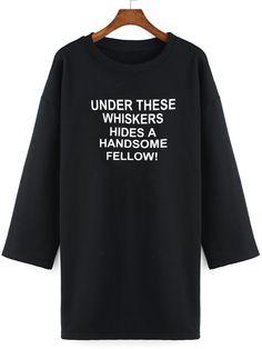 Letter Print Long Black Sweatshirt 16.33