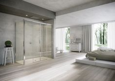 Badkamer op houten vloer douche op houten vloer
