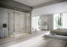 Idee voor de badkamer: Geverfde muren in combinatie met een houten tegel vloer