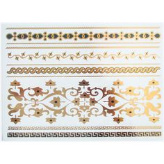 Onyx Myth Gold Foil Temporary Tattoos ($18) ❤ liked on Polyvore featuring accessories, body art and temporary tattoos