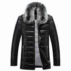 Men Black Sheepskin Leather Fox Fur Fashion Warm Dress Down Coat SKU-116268