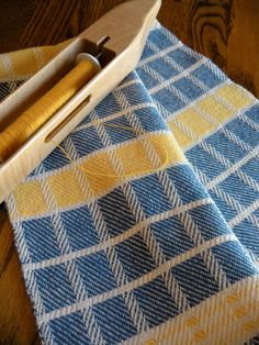 Woven Tea Towel, Blue and White Kitchen Towel, Handwoven Dish Towel, Bread Basket Liner, Woven Towel