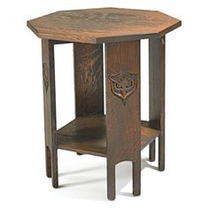 """STICKLEY BROTHERS: Rare lamp table carved with owls, Grand Rapids, MI, ca. 1903 Unmarked 30"""" x 26"""""""