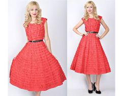 Vintage 50s 60s Bold Red Cocktail Party Dress by thekissingtree, $142.00