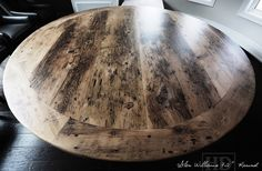 Round Reclaimed Wood Table Grey Gray Epoxy Finish