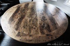 Round Reclaimed Wood Table Grey Gray Epoxy Finish