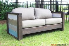 Free and easy, step-by-step, DIY plans to build an outdoor wood plank loveseat with reclaimed wood. No woodworking experience required.