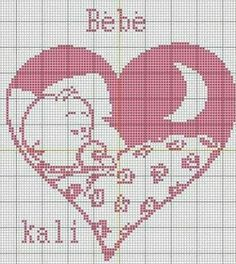 Sleeping baby in heart Cross Stitching, Cross Stitch Embroidery, Embroidery Patterns, Crochet Patterns, Crochet Pony, Crochet Chart, C2c Crochet, Heart Patterns, Baby Patterns