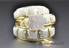 10K Yellow Gold His Her Diamond Engagement Bridal Wedding Band Trio Ring Set #giftjewelry