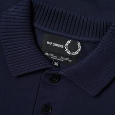 Buy the Fred Perry x Raf Simons Rib Collar Polo in Dark Navy from leading mens fashion retailer END. - only Fast shipping on all latest Fred Perry x Raf Simons products Mens Polo T Shirts, Raf Simons, Mod Fashion, Fred Perry, Gentleman Style, Dark Navy, Mockup, Lounge Wear, Preppy