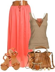 Another great coral maxi skirt outfit from Polyvore