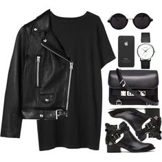 All black, edgy outfit: