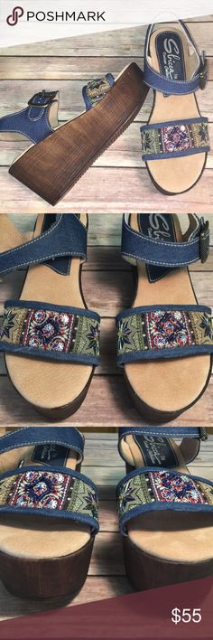 "Sbicca Vintage Collections boho beaded sandals NWOB Sbicca vintage collections festival wedge sandals. Side adjustable buckle. Beaded top with denim and leather upper.  Front 2"" and Heel is 3"" Sbicca Shoes Wedges"