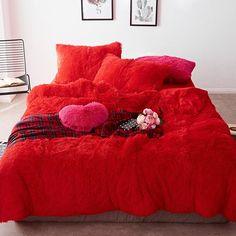 Fluffy Velvet Fleece Quilt Cover Bed Set (4/6/7 pcs) - Red Passion