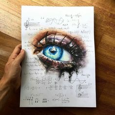 WANT A SHOUTOUT ? CLICK LINK IN MY PROFILE !!! Tag #DRKYSELA Repost from @elia_pelle - art of music - New realistic eye drawing with math equations of music configurations. Drawing realized with prismacolor and @winsorandnewton watercolors. Which is your favorite song? via http://instagram.com/zbynekkysela