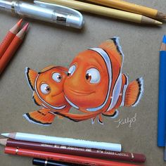 How many of you have seen Finding Dory? I think Nemo and Marlin are one of the cutest dad/son pairs ever He's such a great dad! Cool Art Drawings, Realistic Drawings, Colorful Drawings, Disney Drawings, Art Drawings Sketches, Cartoon Drawings, Cartoon Art, Pencil Art Drawings, Colored Pencil Artwork