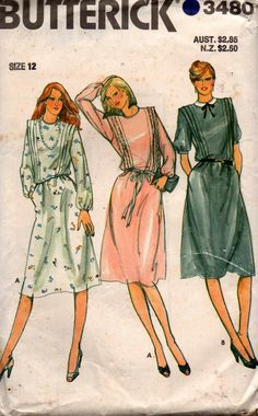 Butterick 3480 Womens Bodice Tucked Straight Dress 80s Vintage Sewing Pattern Size 12 Bust 34 Inches UNCUT Factory Folded