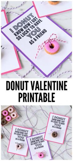 Want a Sweet valentine without the junk? Grab my free donut valentine printable! This printable valentine is a perfect food free class valentine. Fun Valentines Day Ideas, Valentine Gifts For Kids, Valentines Food, Valentine Cookies, Valentine Day Cards, Valentine Crafts, Valentine Party, Saint Valentine, Holiday Cards