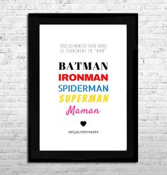 Etsy - Shop for handmade, vintage, custom, and unique gifts for everyone Sewing For Kids, Diy For Kids, Batman, Superman, Happy Dad Day, Happy Family, Jolie Phrase, Poster S, Kids Poster