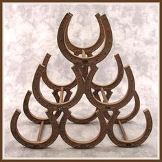 Cast Iron Horseshoe Wine Rack Rustic Western Décor   eBay- Bet dad could make this in a heartbeat!