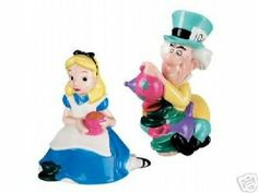 Disney Store Alice in Wonderland & Mad Hatter S & P Shaker Set (Salt & Pepper Set) by Disney Store. $49.99. Ceramic. Up to 4 1/2'' H.. Let Alice and the Mad Hatter spice up any tea party. Hand wash only. Great Gift. Disney Store Alice Salt and Mad Hatter Pepper Shakers. Let Alice and the Mad Hatter spice up any tea party. Hand wash only. Wash thoroughly before first use. Up to 4 1/2'' H. Ceramic. New in original box.
