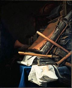 Jan Vermeulen Still Life of Books and Musical Instruments 17th century http://commons.wikimedia.org/wiki/File:Jan_Vermeulen_Vanitas_Still_Life.jpg