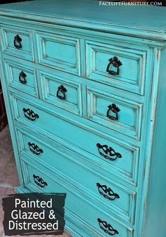 Turquoise chest of drawers with pulls painted black, from the Facelift Furniture DIY Blog.