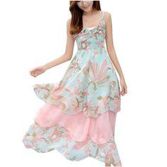 Partiss Damen Boehmisches Floral OL Maxi Boyfriend Style Chiffonkleid Sommerkleid Abschlusskleid