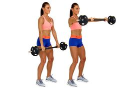 Woman doing frontal raise with barbells