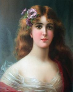 Print Victorian Lady Woman Florist Floral Garland of Roses Rose Blooms Flowers | eBay