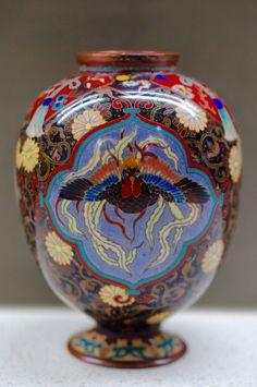 RARE Meiji Japanese Silver Wire Cloisonne Dragon/Phoenix Panelled Imperial Vase