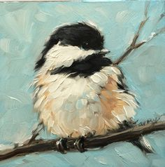 "Chickadee art, impressionistic, 4x4"" original oil painting of a Chickadee, Bird Paintings,"