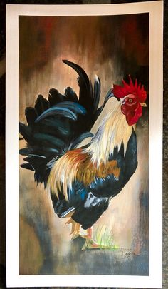 Bird Paintings On Canvas, Watercolor Paintings, Canvas Art, Rooster Painting, Rooster Art, Farmhouse Paintings, Chicken Art, Pebble Painting, Watercolor Bird