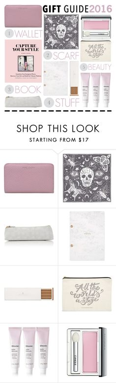 """""""BFF"""" by foundlostme ❤ liked on Polyvore featuring Marc Jacobs, Alexander McQueen, Barneys New York, Studio Sarah, Faber-Castell, ALPHABET BAGS, Glossier, Clinique, giftguide and besties"""