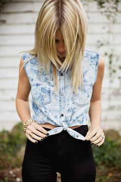 How to make a tied crop top out of any button up top!
