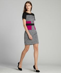 SD Collection : heather, black, fuchsia colorblocked short sleeve dress : style # 325459901