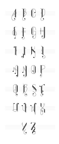 A set of typography inspired by musical notes the words .- Ein Satz von Typografie inspiriert von Musiknoten die Wörter bilden sich aus A set of typography inspired by music notes the words are formed out - Hand Lettering Alphabet, Calligraphy Letters, Alphabet Letters, Cool Fonts Alphabet, Caligraphy Alphabet, Tattoo Fonts Alphabet, Letter Fonts, Word Fonts, Spanish Alphabet