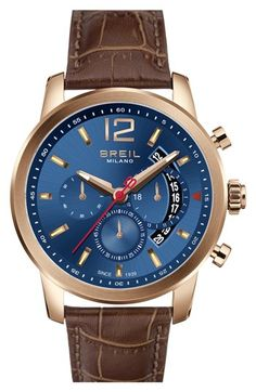 Breil 'Miglia' Chronograph Leather Strap Watch, 44mm | Nordstrom