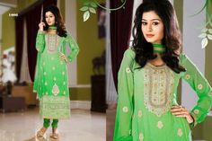 Refreshing Green chiffon punjabi suit with border work.pair with mathcing bottom and dupatta. Punjabi Suits, Salwar Kameez, Chiffon, Sari, Casual, Green, Fashion, Silk Fabric, Saree
