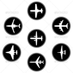 Collection of Different Airplane Silhouettes #GraphicRiver Vector black collection of different airplane. silhouettes. EPS 10