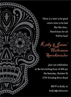 halloween party invitation - day of the dead invitation - dia de, Wedding invitations